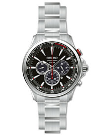 Seiko Men's Solar Chronograph Stainless Steel Bracelet Watch 44.5mm