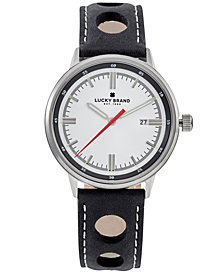 Lucky Brand Men's Fairfax Black Perforated Leather Strap Watch 40mm
