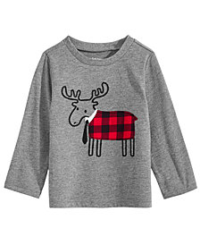 First Impressions Baby Boys Elk-Print T-Shirt, Created for Macy's