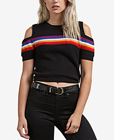 Volcom Juniors' Rainbo Flite Cold-Shoulder Crop Sweater