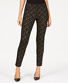 Alfani Foil-Print Ponté-Knit Pants, Created for Macy's