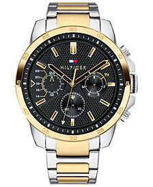 Tommy Hilfiger Men's Two-Tone Stainless Steel Bracelet Watch 46mm, Created for Macy's