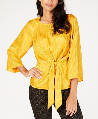 Alfani Jacquard Tie Front Blouse Created For Macy S Tops Women