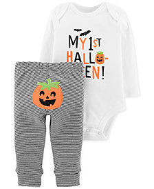 Carter's Baby Boys & Girls 2-Pc. Cotton Bodysuit & Pumpkin Pants Set