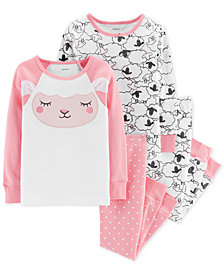 Carter's Baby Girls 4-Pc. Cotton Snug-Fit Sheep Pajamas Set