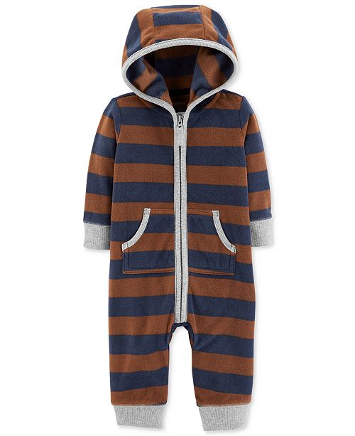43fd6afea Carter s Baby Boys Striped Hooded Fleece Coverall - All Baby - Kids ...