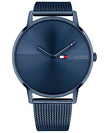 Tommy Hilfiger Women's Blue Stainless Steel Mesh Bracelet Watch 40mm, Created for Macy's