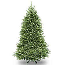 "National Tree 7 .5' ""FeelReal"" Downswept Douglas Slim Fir Hinged Tree with 600 Clear Lights"