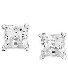 Near Colorless Princess-Cut Diamond Stud Earrings in 14k White Gold (1/2 ct. t.w.)