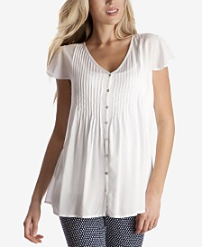 Seraphine Maternity V-Neck Pleated Blouse