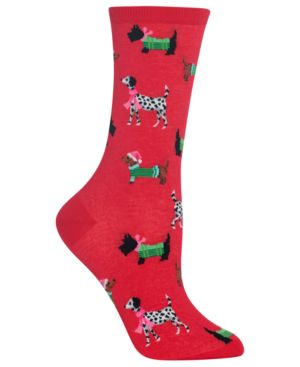 Women'S Cozy Dogs Crew Socks, Red