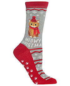 Hot Sox Meowy Non-Skid Crew Socks