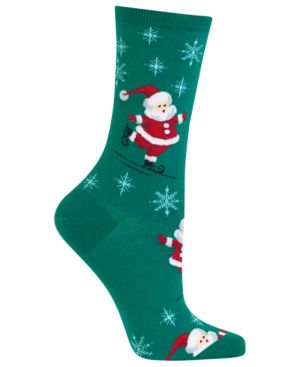 Women'S Skating Santas Crew Socks, Fores
