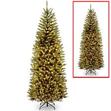 National Tree 7 .5' Kingswood Fir Slim Hinged Tree with 450 Dual Color(R) LED Lights + PowerConnect System-9 Functions
