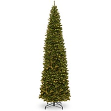 National Tree 12' North Valley Spruce Pencil Slim Tree with Clear Lights