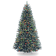 National Tree 7 .5' North Valley Spruce Blue Hinged Tree with 700 Multi Lights