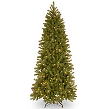 National Tree 7' Feel Real Downswept Douglas Fir Pencil Slim Hinged Tree with 300 Dual Color LED Lights