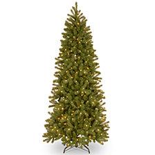 National Tree 7' Feel Real Downswept Douglas Fir Pencil Slim Hinged Tree with 300 Dual Color LED Lights