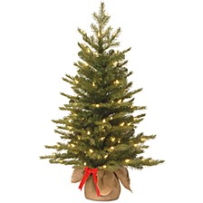 3' Feel Real(R) Nordic Spruce Tree in Burlap Base with 50 Warm White Battery Operated LED Lights wandTimer