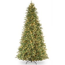 "National Tree 12' ""Feel Real"" Tiffany Fir Slim Hinged Tree with 1200 Clear Lights"