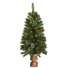 4' Glistening Pine Entrance Tree with Cones, Berries, & Twigs in Gold Urn with 50 Clear Lights