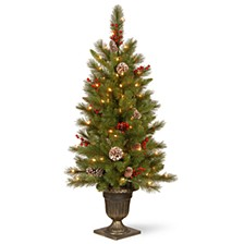 4' Feel Real®  Bristle Berry Entrance Tree in Dark Bronze Pot with 100 Clear Lights