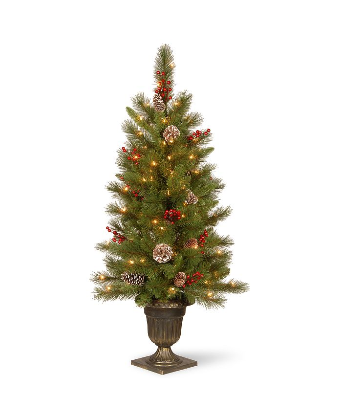 National Tree Company - 4' Feel Real®  Bristle Berry Entrance Tree in Dark Bronze Pot with 100 Clear Lights