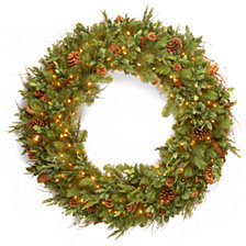"National Tree Company 48"" Decorative Collection Juniper Mix Pine Wreath with 200 Warm White LED Lights"