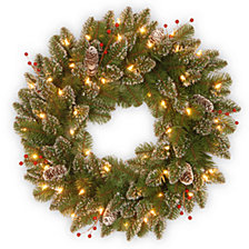 "National Tree 24"" Glittery Mountain Spruce Wreath with White Edged Cones, Red Berries and 50 Warm White Battery Operated LED Lights with Timer"