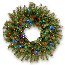 """National Tree Company 30"""" Norwood Fir Wreath with 100 Multi Battery Operated LED Light"""