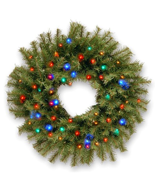 "National Tree Company 30"" Norwood Fir Wreath with 100 Multi Battery Operated LED Light"