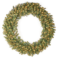 "National Tree Company 60"" ""Feel-Real"" Downswept Douglas Fir Wreath with 300 Warm White LED Lights"
