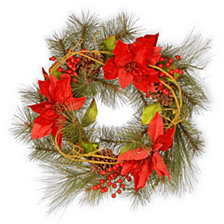 "National Tree Company 24"" Red Poinsettia Wreath"