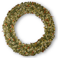 "National Tree Company 72"" Wintry Pine Wreath with Cones, Red Berries, Snowflakes with 400 Clear Lights"