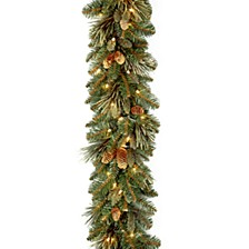 "9' x 10"" Carolina Pine Garland with flocked cones & 100 Battery Operated LED Lights"
