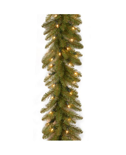 """National Tree Company 9' x 10"""" Dunhill Fir Garland with 100 Clear Lights"""