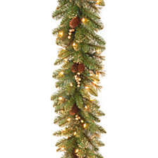 """National Tree Company 9' x 10"""" Glittery Pine Garland with 100 Clear Lights"""