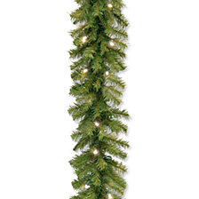 """National Tree 9' x 10"""" Norwood Fir Garland with 50 Battery Operated Soft White LED Lights"""
