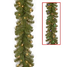 """National Tree 9' x 10"""" North Valley Spruce Garland with 50 Battery Operated Dual LED Lights"""