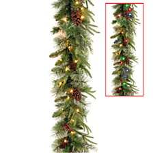 "National Tree 9' x 10"" Feel Real(R) Colonial Garland with 15 Pine Cones, 15 Red Berries and 50 Dual Color(R) Battery Operated LED Lights with Timer-9 Functions"