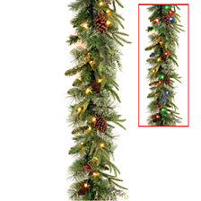 "National Tree 9' x 10"" Feel Real(R) Colonial Garland with 15 Pine Cones, 15 Red Berries and 50 Dual Color(R) Battery Operated LED Lights w/Timer-9 Functions"