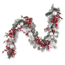 6' Chistmas Garland with Red and White Ornaments