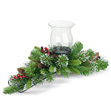 "National Tree Company 30"" Crestwood Spruce Centerpiece w/ 1 Candle Holder & Glass Cup with 9 Cones & 6 Berries"