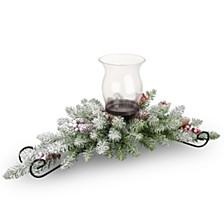 """30"""" Dunhill Fir Centerpiece and Candle Holder with Snow, Berries and Cones"""