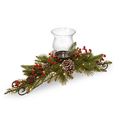 "National Tree Company 30"" Feel Real® Bristle Berry Centerpiece with  battery operated lights, berries and cones"