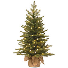 "National Tree Company 3' ""Feel Real"" Nordic Spruce Small Tree in Burlap with 100 Clear Lights"
