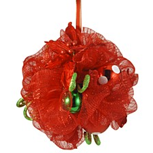 "12"" Decorative Collection Red Ribbon Kissing Ball"