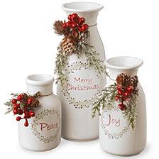 "National Tree Company Ceramic White Bottles-Set of 3 5""Peace/6""Joy/9""MerryChristmas"