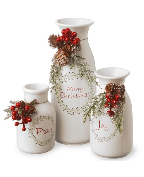 "National Tree Company Ceramic White Bottles-Set of 3 5""Peace/6""Joy/9""MerryChristmas"
