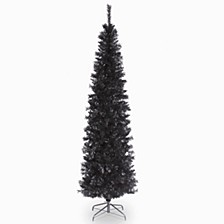 National Tree 6 ft. Black Tinsel Tree